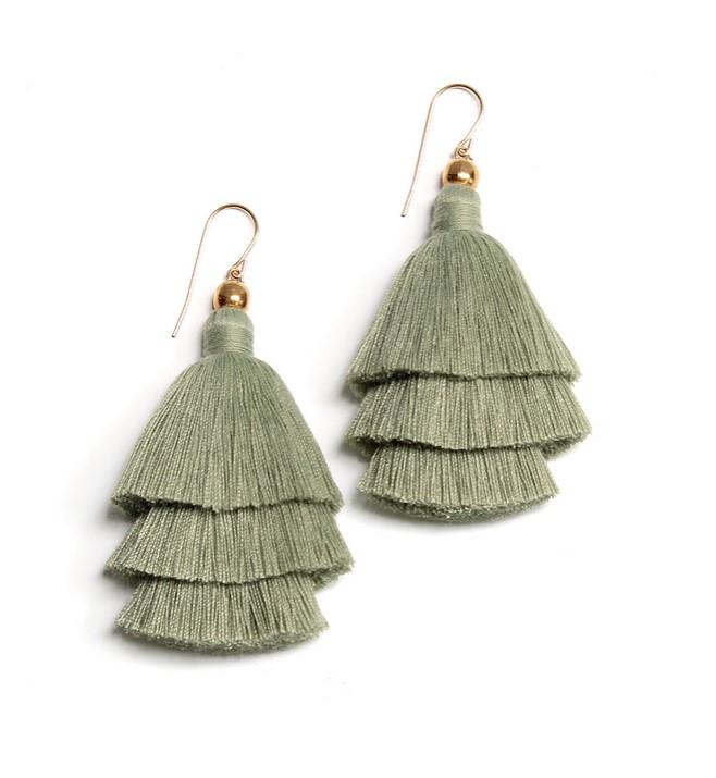 green layered tassel earrings from Femme Faire