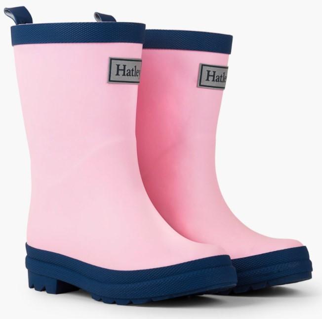 Hatley Pink & Navy Matte Rainboots