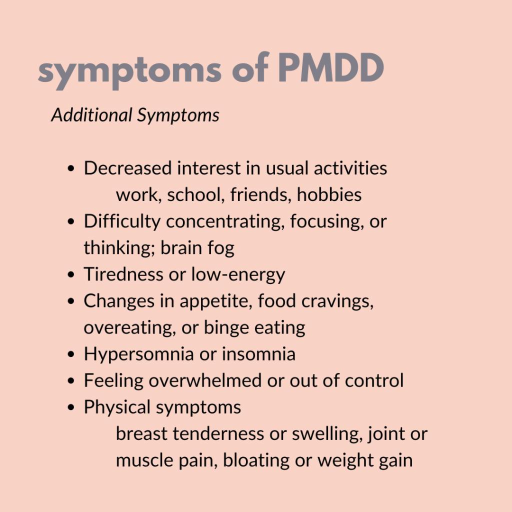 Symptoms of PMDD text