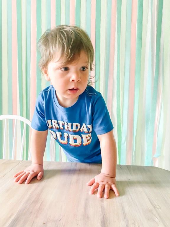 Boy in Blue Birthday Dude celebrating Pandemic Birthday