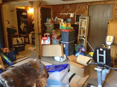 basement full of clutter
