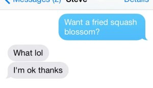 text message where brother shoots down squash blossoms