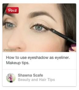 using eyeshadow and angled brush as eyeliner
