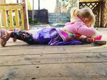 lenayah playing on the deck