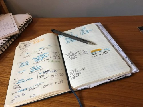photo of the moleskin weekly planner with errands and notes in it.