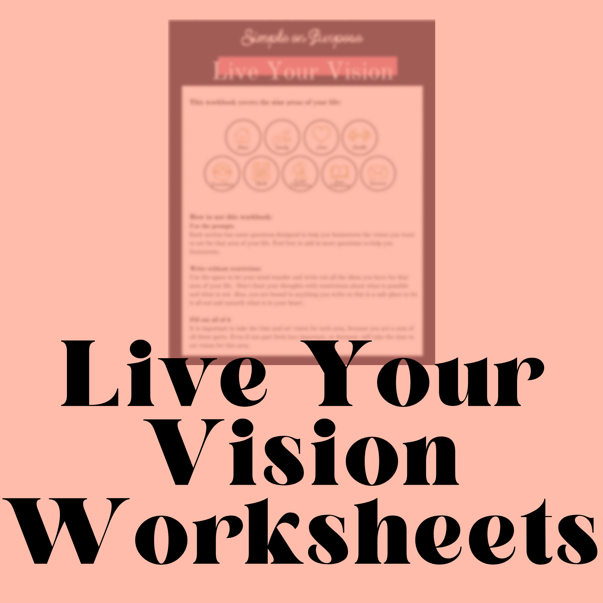 Life On Purpose Vision Worksheets Printable Simple On