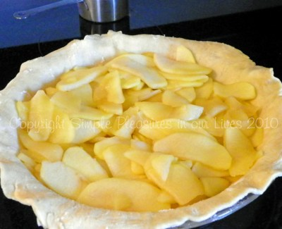 Start layering with apples