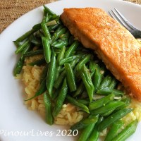 Cajun Spiced Salmon with Green Beans and Rice Pilaf