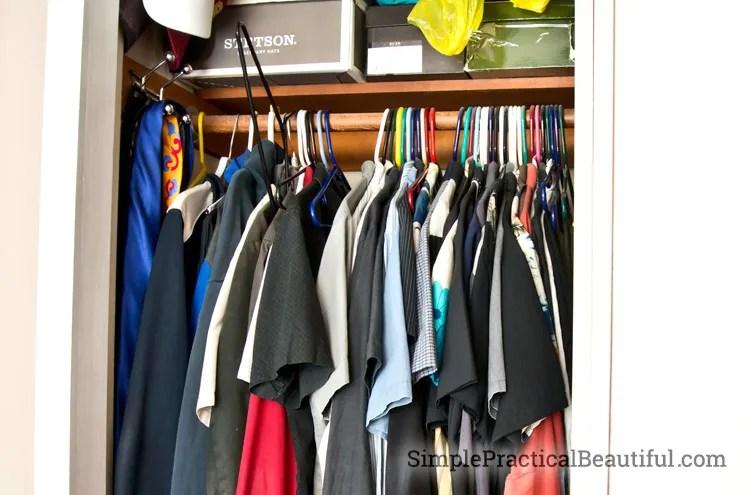 Plastic hangers make a messy closet
