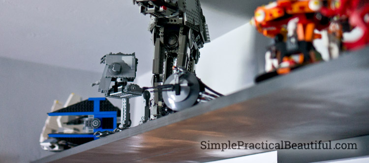 A metallic shelf is the perfect place for Star Wars Legos