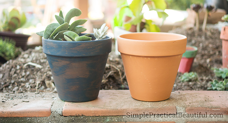 Use wood stain to color terra cotta pots