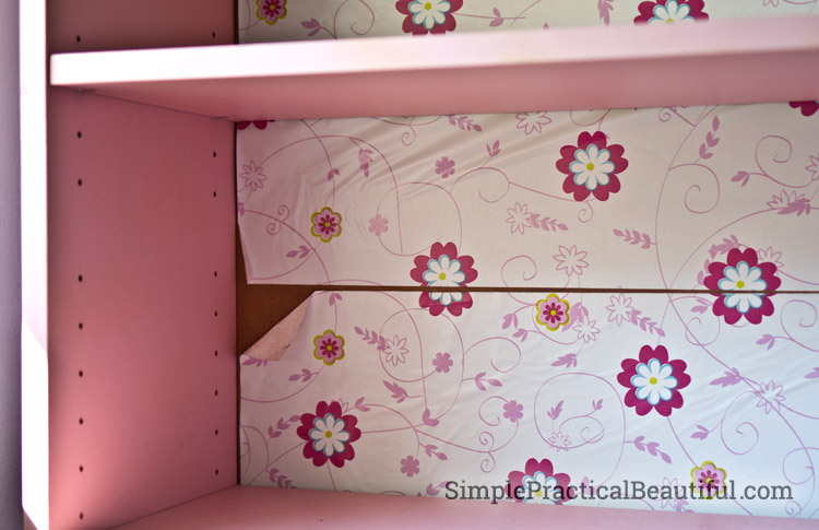 Don't use contact paper to back your shelves--it peels off!