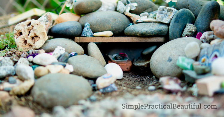 Use rocks and stones of all shapes, sizes, and colors to build a fairy house for your rock fairy.