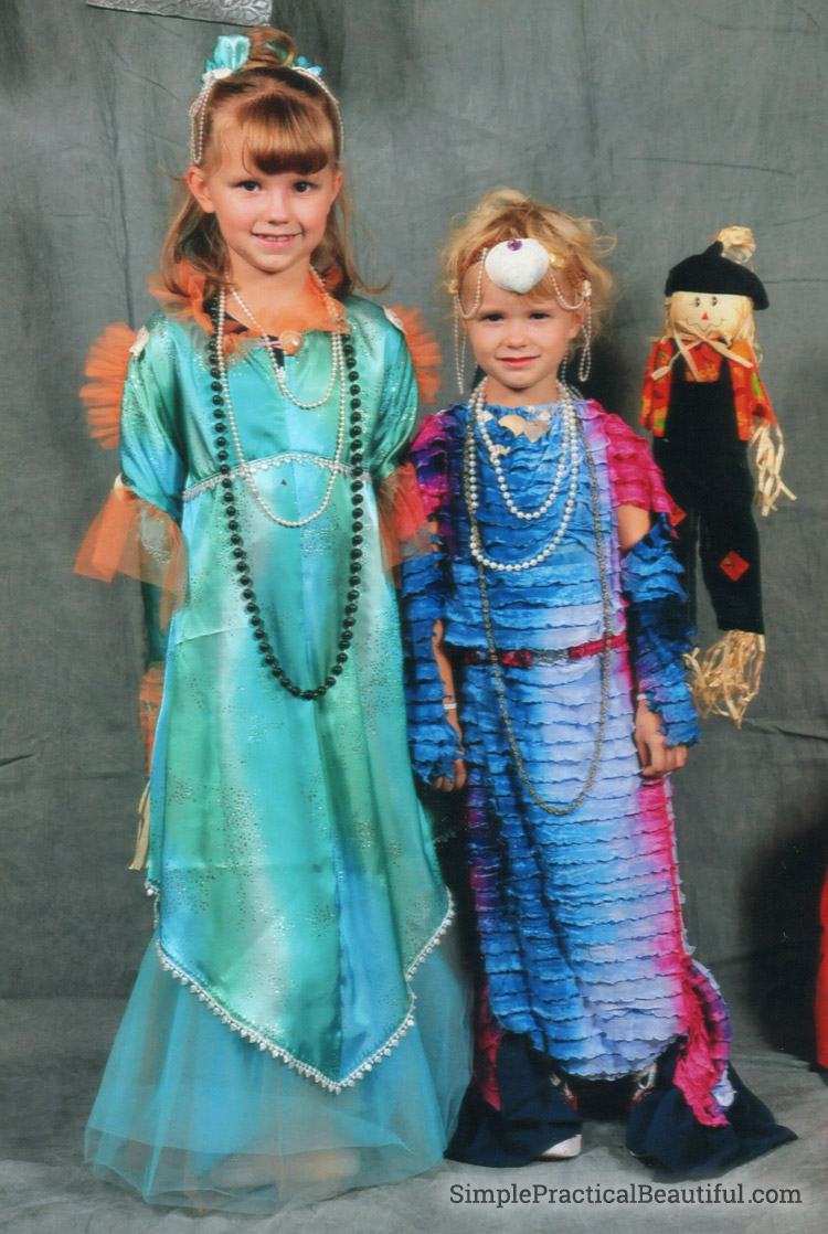 Modest girls mermaid costumes for Halloween with no shell bra top