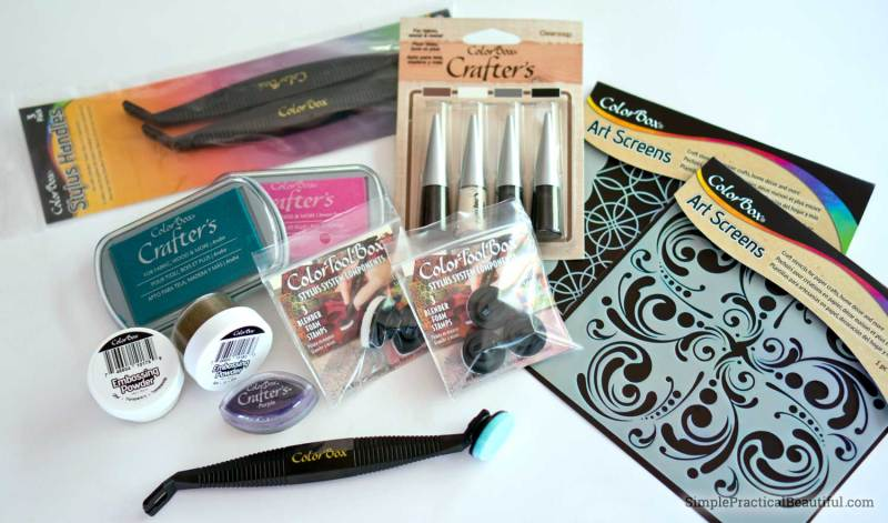 Colorbox ink and stencil from Clearsnap create beautiful designs on fabric
