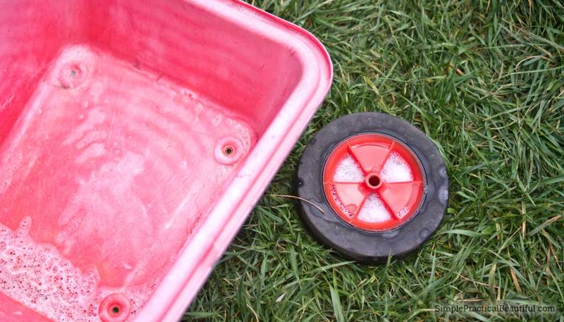 How to make an old, broken toy, like a wheel barrow, into something new and custom-made. Great way to DIY a gift for a toddler or kid.