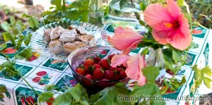 Strawberries and greek decorations, including a grape vine