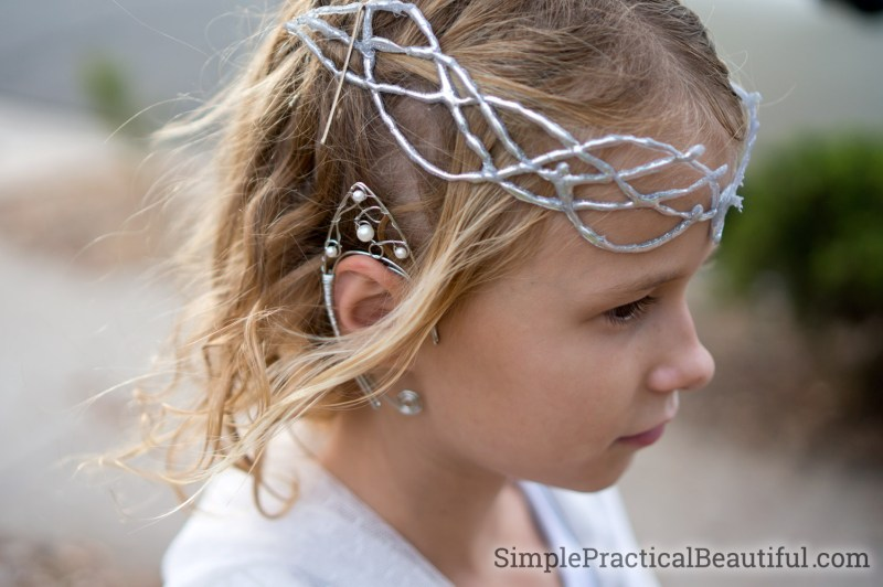 Galadriel costume with elf queen crown and elf ears