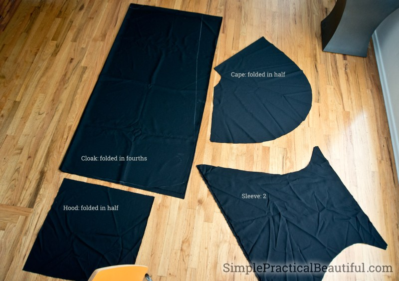 Pattern parts to sew a cloak in 4 pieces, the front/back, the sleeve, the hood, and the cape