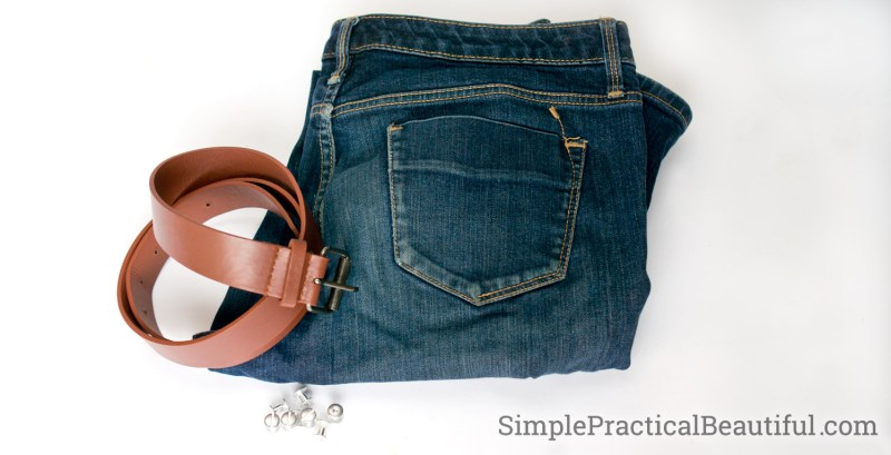 Use an old pair of jeans and an old belt to make a jean purse