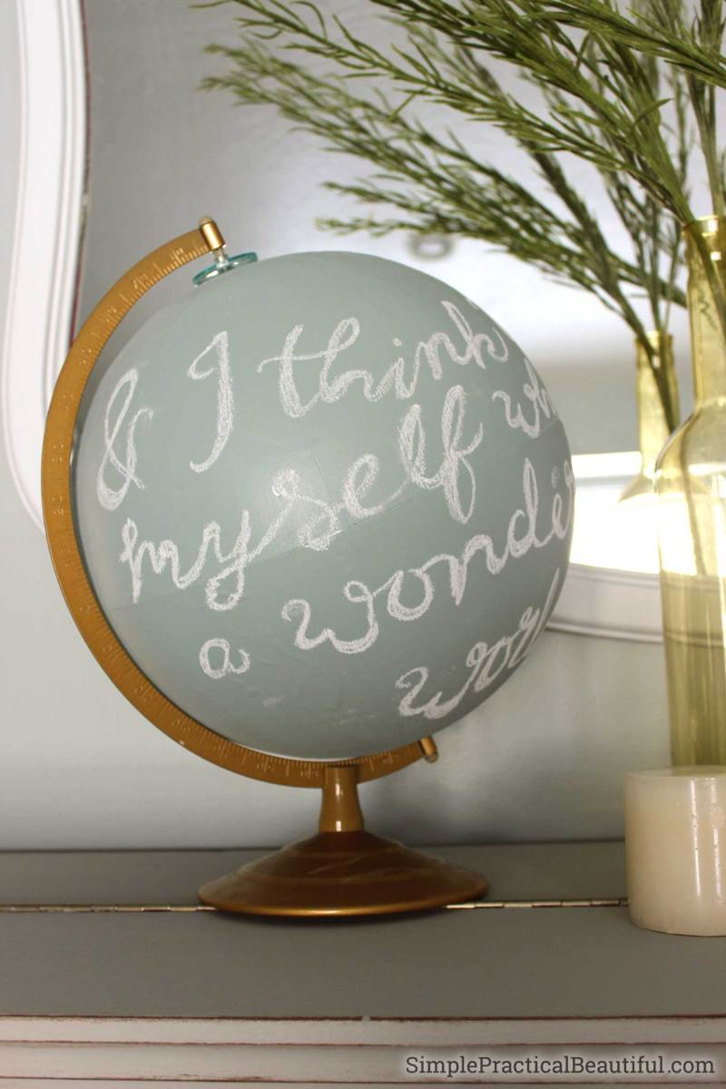 Use an old globe as home decor by refinishing with chalk paint