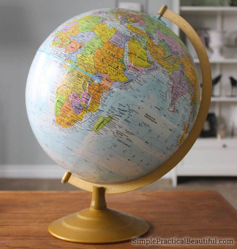 A globe is a great spherical shape for home decor, it just needs some beautiful chalk paint color