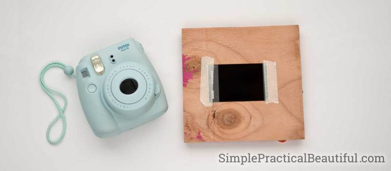 DIY wood frame made from thin plywood to fit an Instax photo