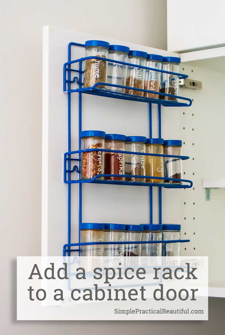 a spice rack to an ikea cabinet door