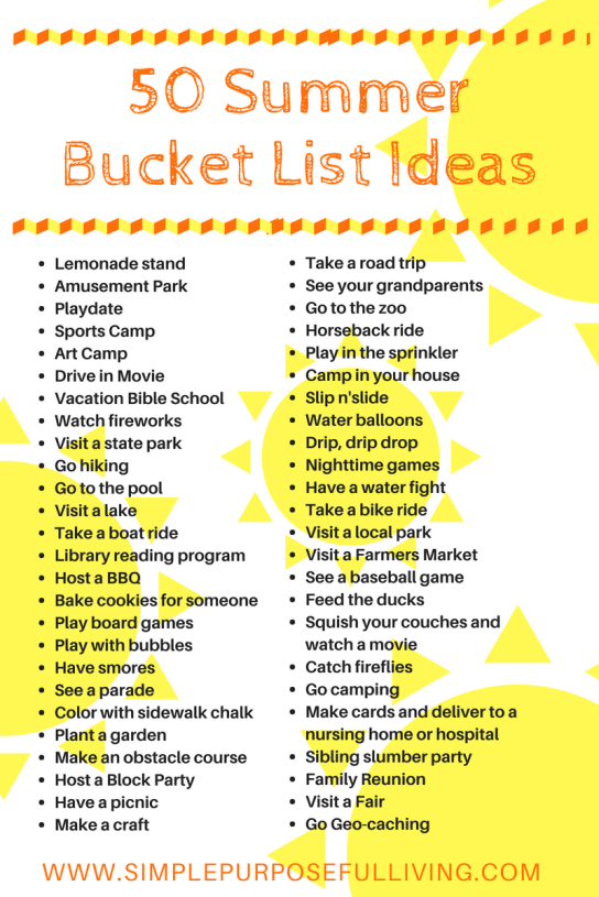 50 summer bucket list ideas graphic