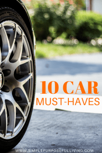 car wheel on road with text that says 10 car must-haves