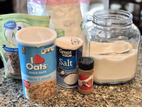 rhubarb crisp dessert dry ingredients - oats, flour, cinnamon, salt and sugar
