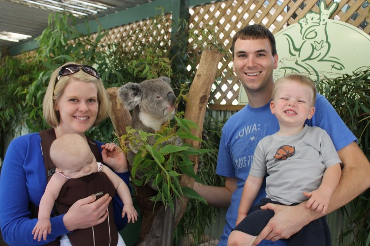 Family with Koala at Featherdale in Sydney, Australia