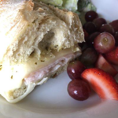 Simple Baked Turkey Pesto Sandwich