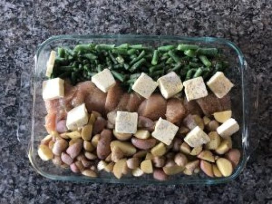 one pan Italian chicken, green beans and potatoes