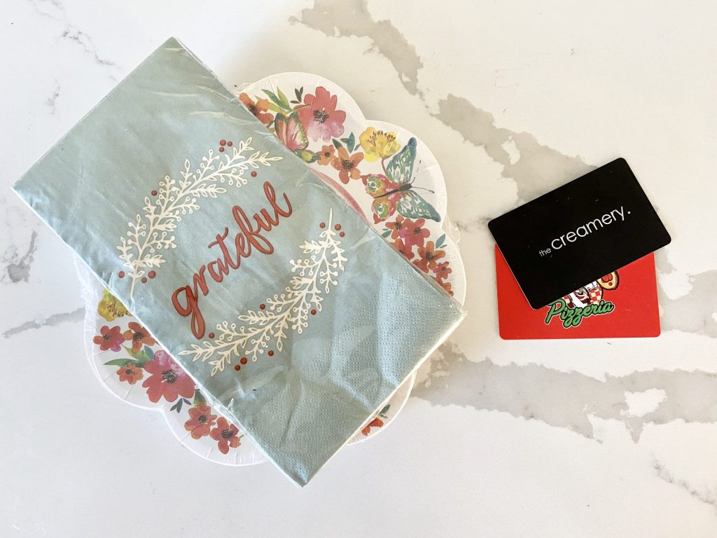 paper plates and gift cards houswarming gift ideas