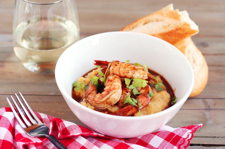Cajun Shrimp with gouda polenta