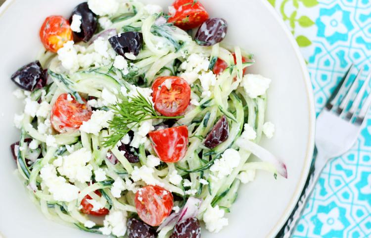 Spiralized Greek Cucumber Salad