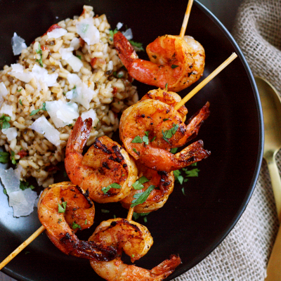 Spanish Grilled Shrimp Skewers and Pomodoro Risotto