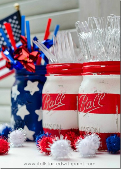 Mason Jar Flag - Red White and Blue