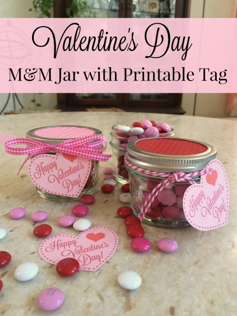 Valentine's Day M&M Jar with Printable Tag - Simple Sojourns
