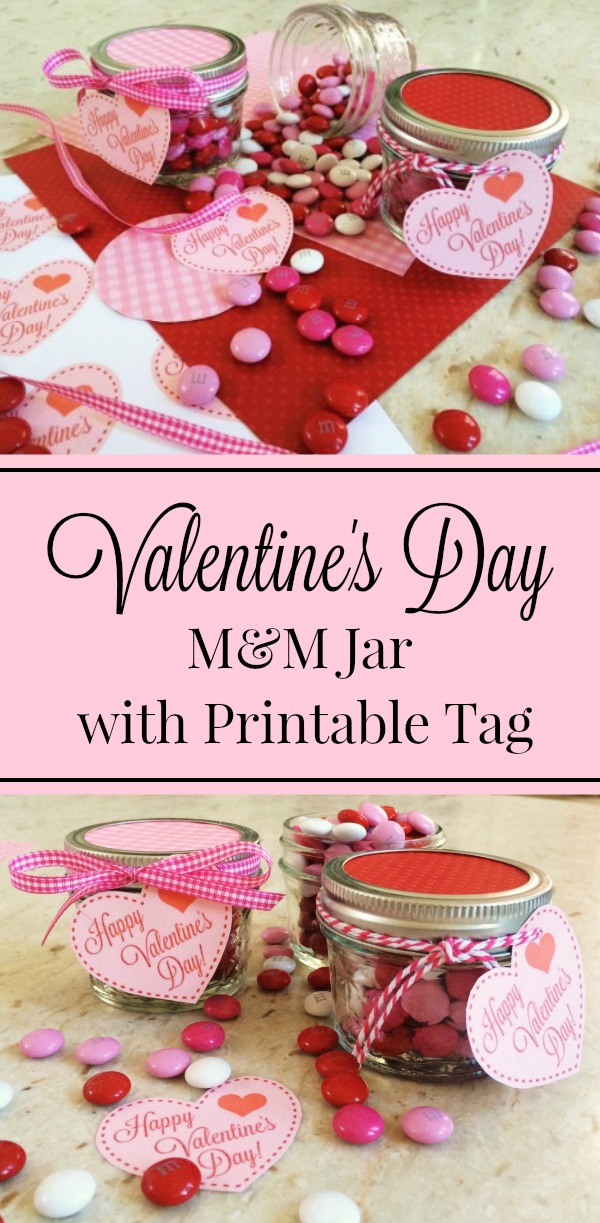 Valentine's Day M&M Jar with Printable Tag - Simple Sojourns #ValentinesDay #ValentineGift #Valentine #Printable