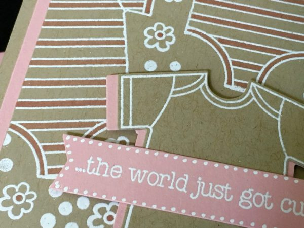 Made With Love Embossed Baby Girl Card - Susan Itell Stampinup