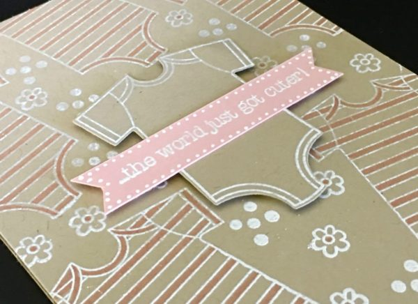 Made with Love Baby Girl Embossed Card-Susan Itell Stampinup