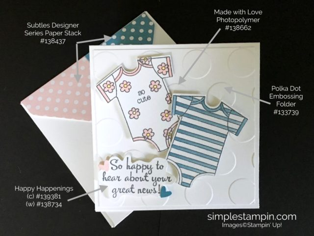 Stampin' Up! Clean and Simple Baby Card, Pals Paper Art, Made With Love, Baby's First Framelits, Susan Itell - stampinup