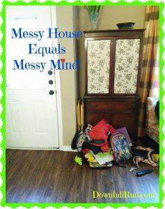 mess by front door simple shelf