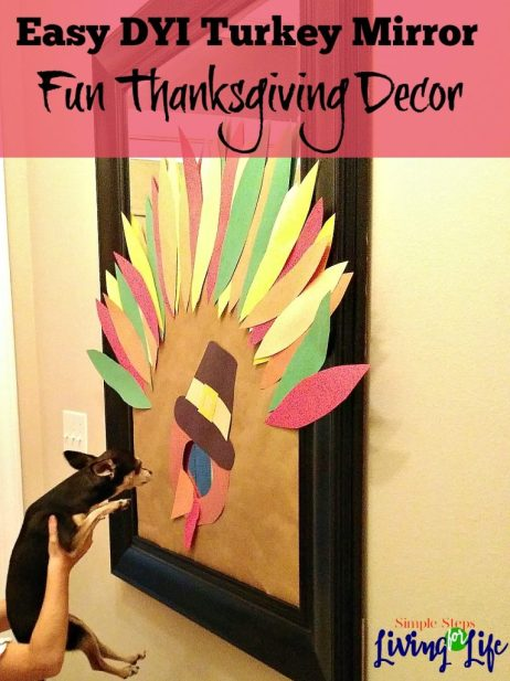 Easy DYI Turkey Mirror for fun Thanksgiving decor