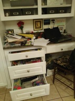 Kitchen desk area clean up