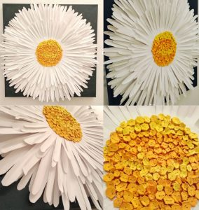 Art collage of a daisy for Wonderful Wednesday blog hop