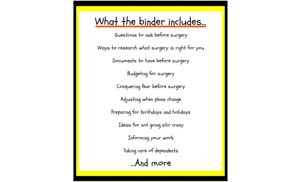 surgery binder whats included long