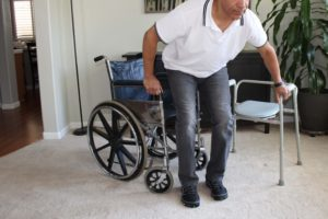 Wheelchair-to-commode-transfer